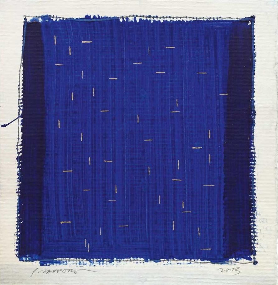 Gianfranco Zappettini - La trama e l'ordito, Spartito celeste, 2003 - tempera e oro su cellulosa, 40x40 cm