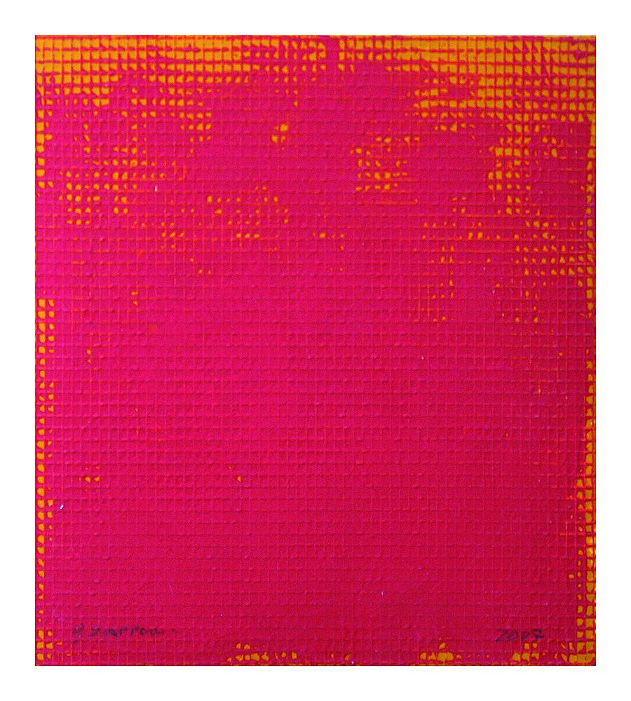Gianfranco Zappettini - La trama e l'ordito, 2007 - tempera e nylon su carta, 27x24 cm