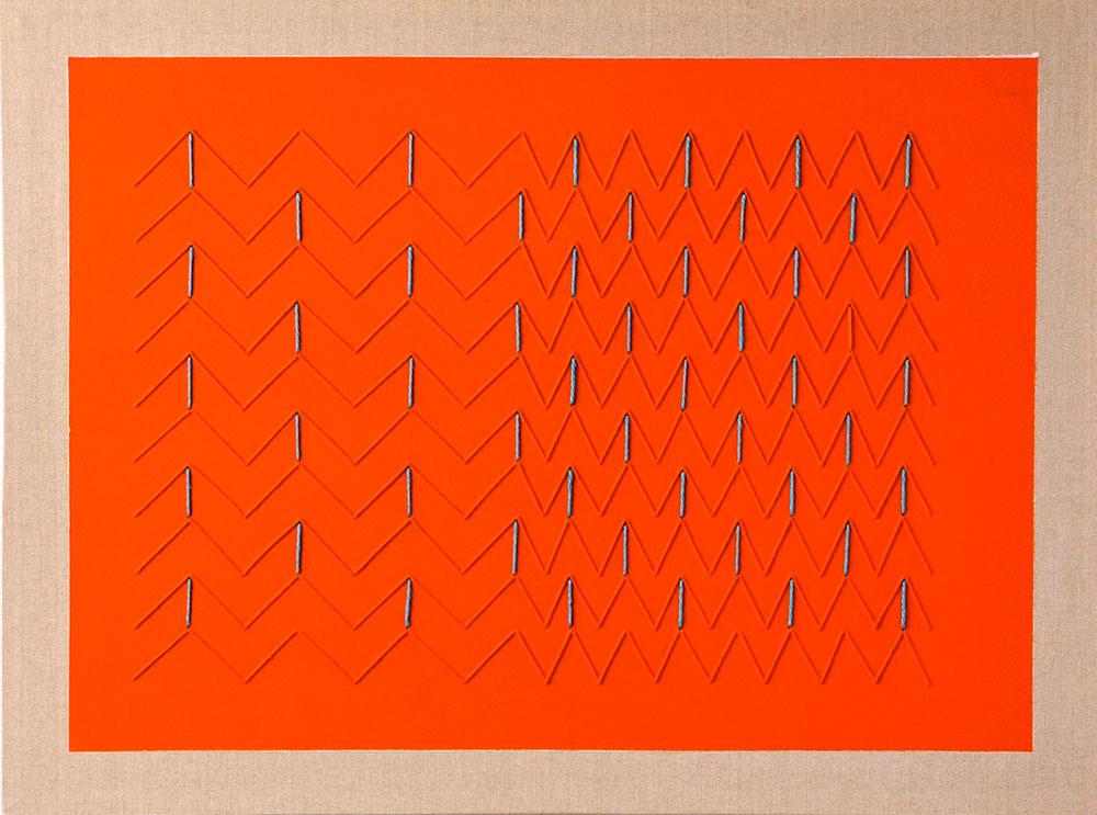 Lorenzo Taini, Punizione Arancio, 2016 - 30x40 cm, Embroidery on canvas